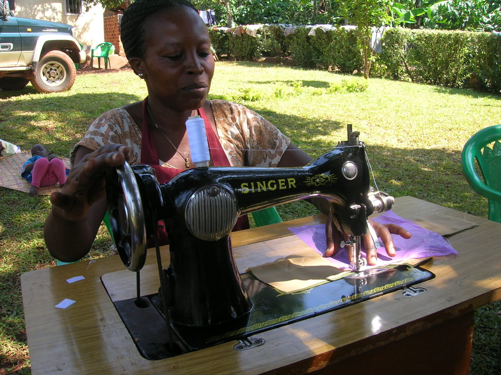 Juliet is now making pads using her sowing machine