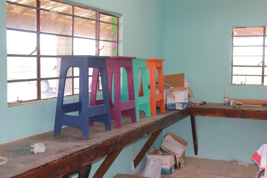 Stools built by our Arts Facilitator
