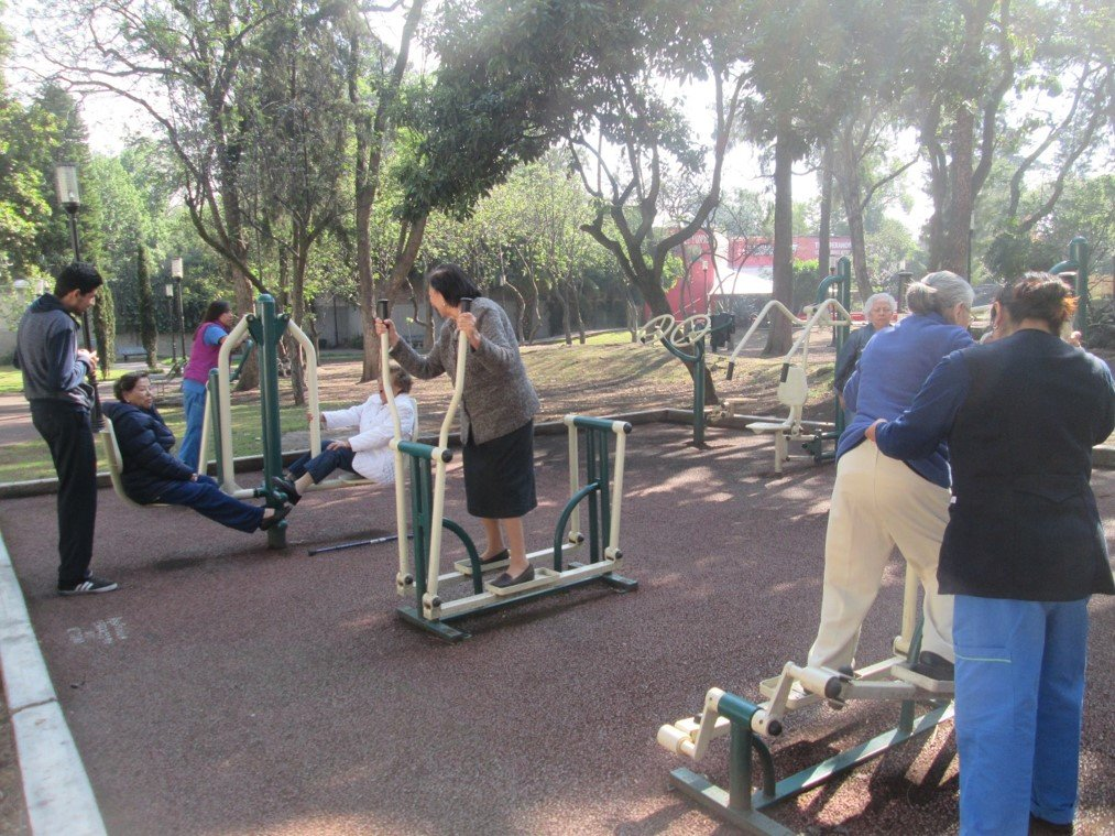 Training in the nearby park