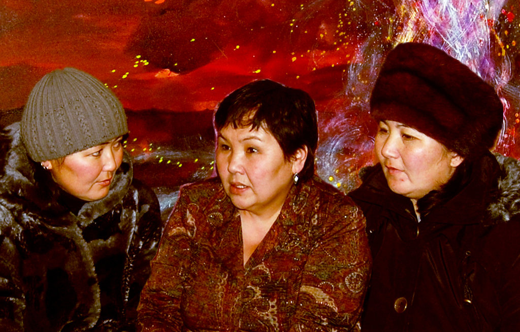 Svetlana (center) with villagers