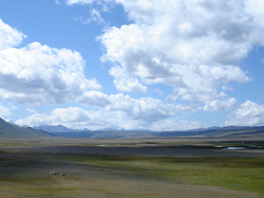 Ukok Plateau, looking south to mountains in China