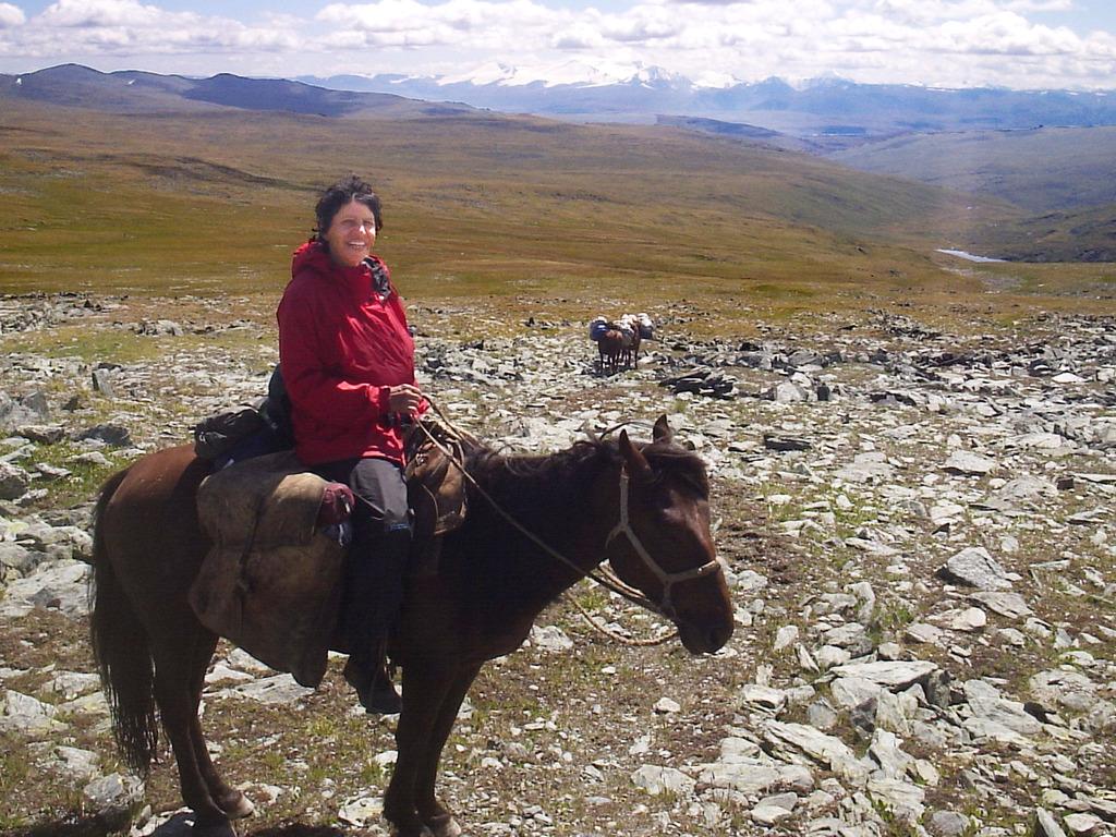 Carol above the Ukok Plateau last summer