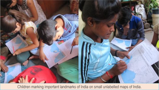 Children marking landmarks on unlabeled maps