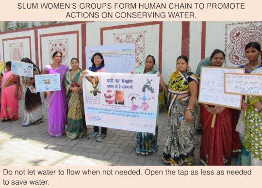 Human Chain of slum women calls for saving water
