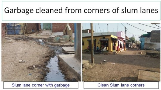 Dirt and garbage cleaned from street corner