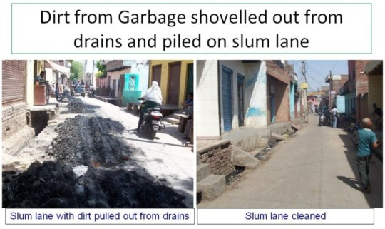 Dirt removed from slum lanes