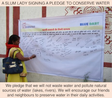Pledge to save water and not pollute water bodies