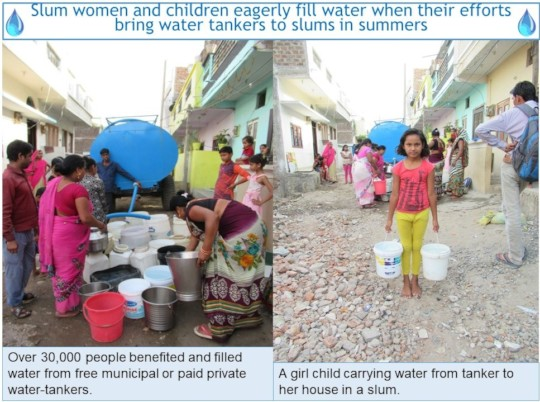 Slum families filling water from tankers