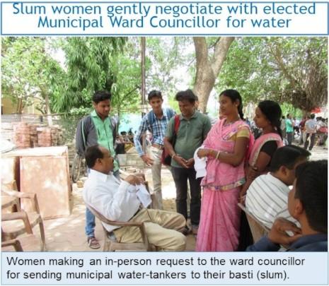 Slum women gently negotiating for water