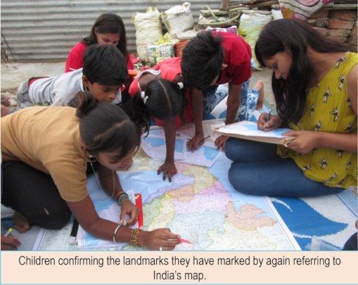 Children confirming their landmarks through map