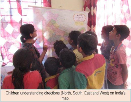 Children understanding directions on India's map