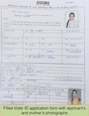 A filled application form with photographs