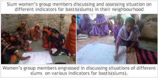 Slum women discussing, assessing situations