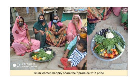 Women sharing their produce