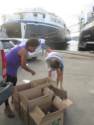 Suva Wharf, Giving Water and Food
