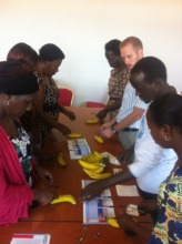 Low-cost suturing workshop with bananas