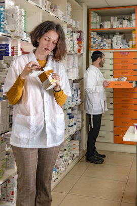 Pharmacists handle the medicines