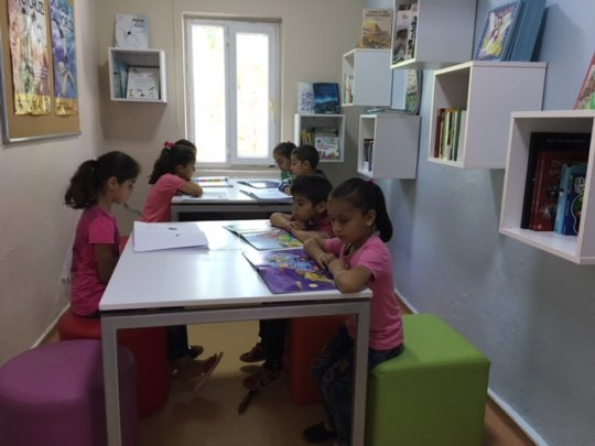 Kids having fun in the new library