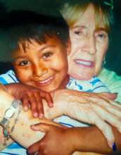 Sandy's mother Eddie with Bolivian child