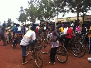 Rural women riding bicycles