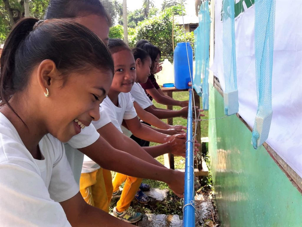 Outdoor hand washing at elementary schools