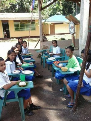 Everyone eats lunch at Bunot Elementary