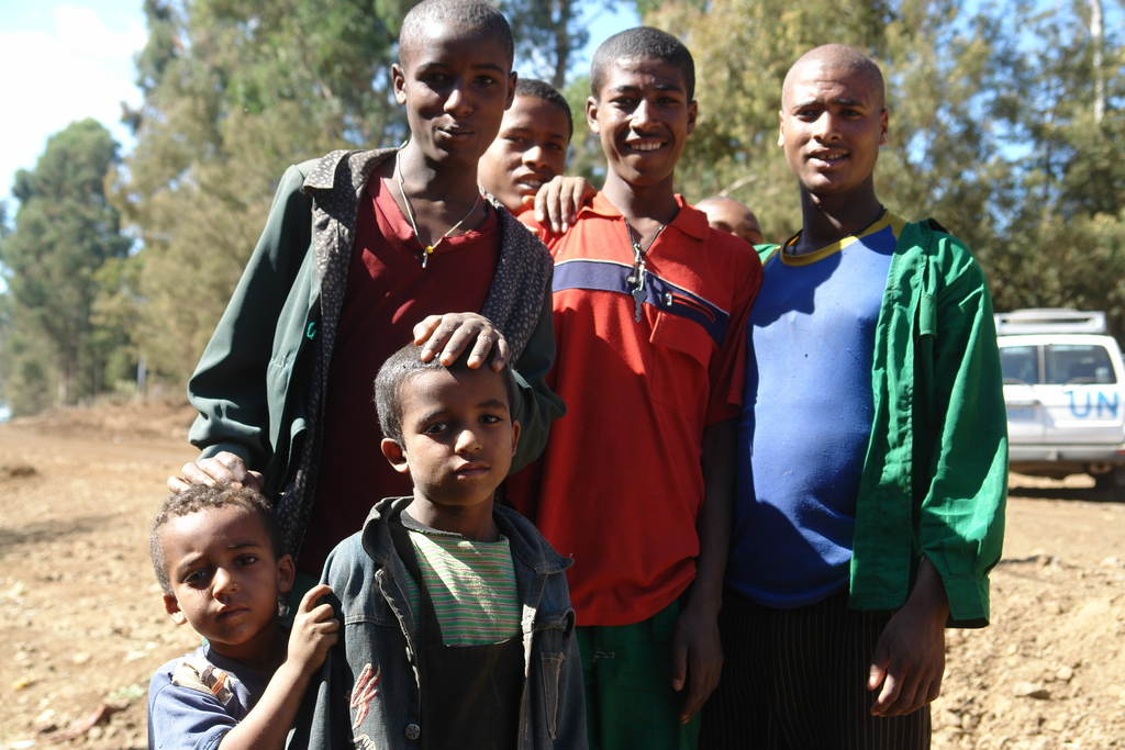 Young men pose for the camera in Ethiopia