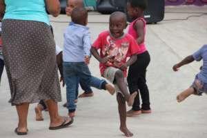 Having fun dancing at the Holiday Party