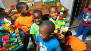 Proud of their Lego creations