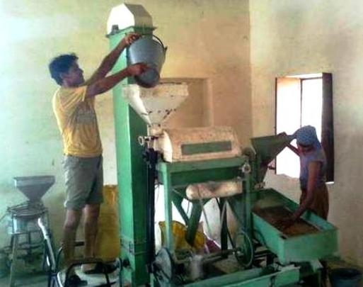 Farmer working in Dal Mill.