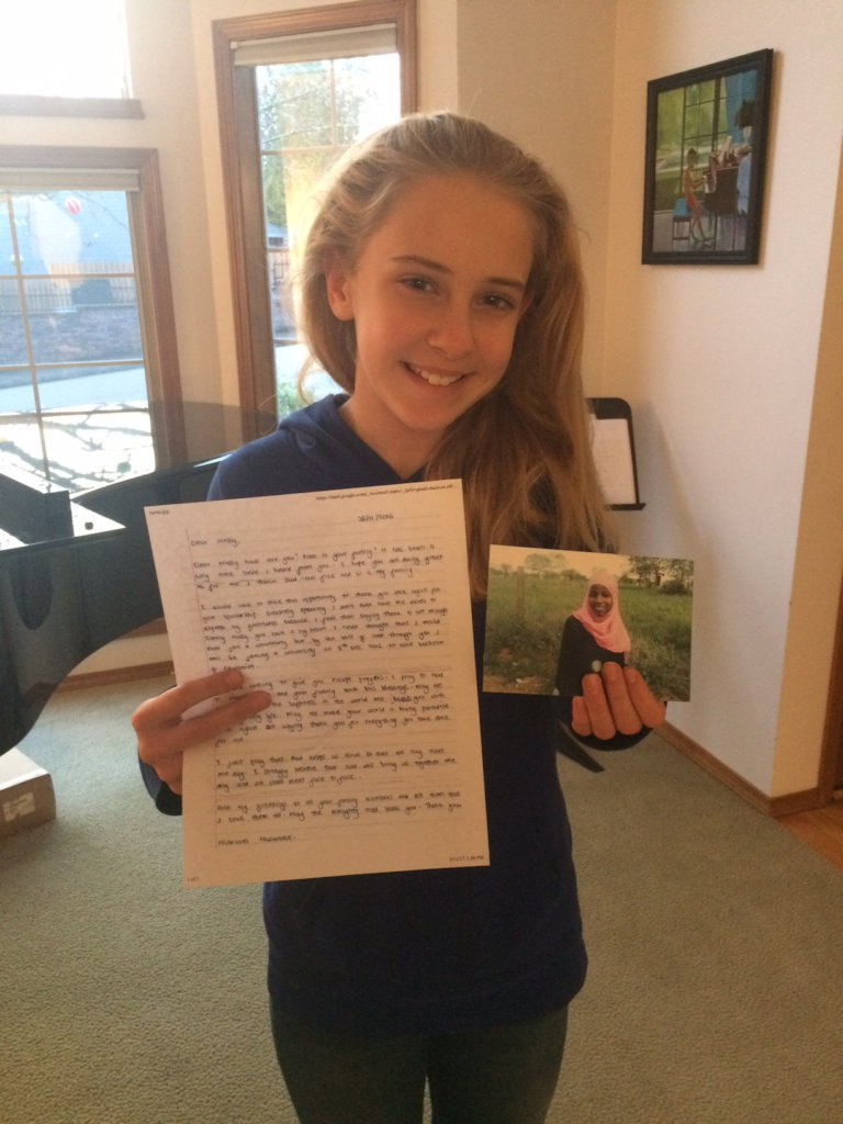 Daughter Ashlyn loves to read letters from Miriam
