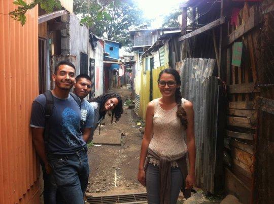 Fernando, far left, on a community walk-through.