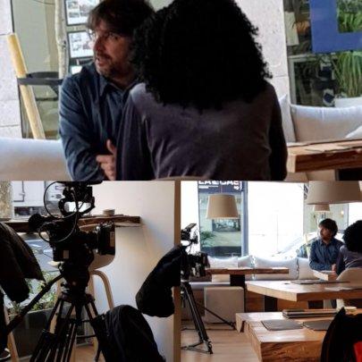 Survivor filming an interview for big TV program