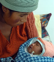 Bolivian mother with newborn child