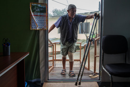 Chandra can now walk with the support of a cane