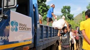 First aid to reach village of Khalte.