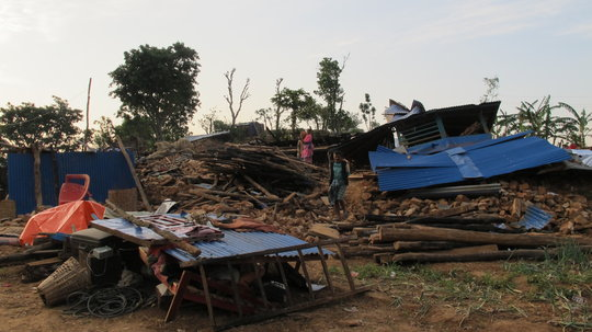 Collapsed house in remote mountain village.