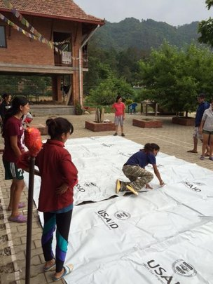 Cutting tarps for distribution
