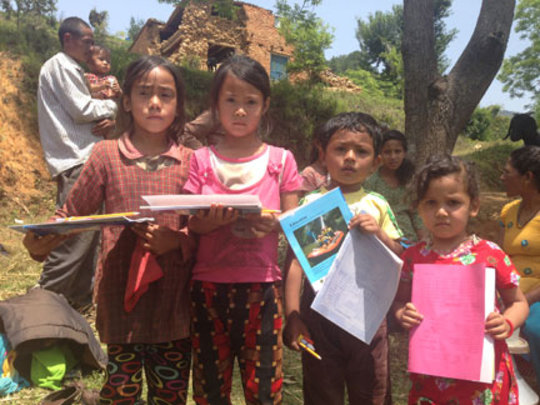 Kids gave books and crayons to neighbors