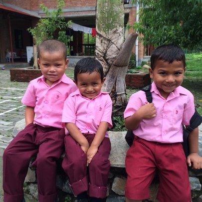 Ramit, Badi Ram and Jeevan on their way to school
