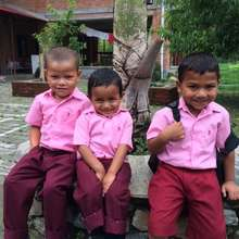 Ramit, Badi Ram and Jeevan on their way to school