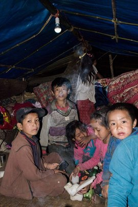 Let there be light! Children in tent