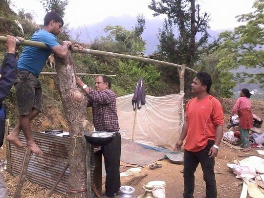 Older boys help to build shelters
