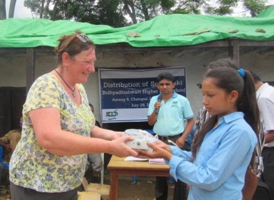 Globalgiving UK representative distributing