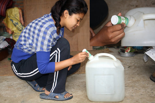 Using WATASOL (Chlorine Solution) to treat water
