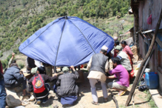tent provided to the earthquake affected families