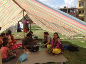 PHASE office set up in a tent to coordinate relief