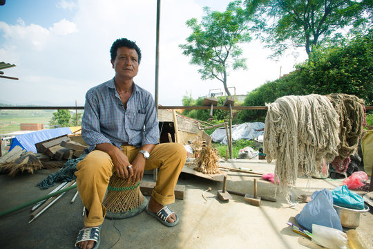 Bimal at the site of his collapsed factory.