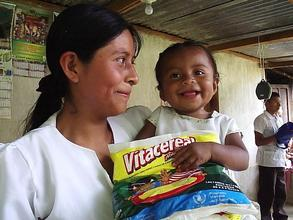 A mother and child enjoy Vitacereal(TM) in Guatemala