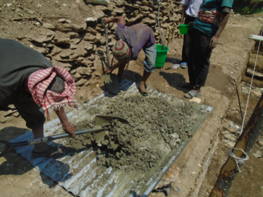 Batching of cement for Tipling health post